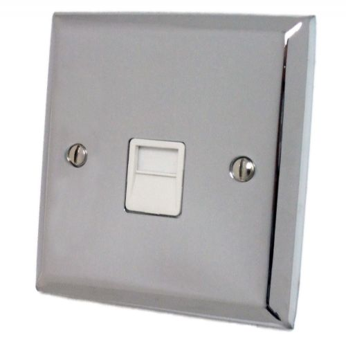 G&H SC34W Spectrum Plate Polished Chrome 1 Gang Slave BT Telephone Socket